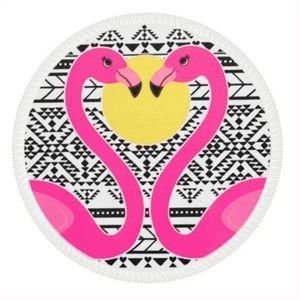 Beach Pool Towel- Round Flamingos